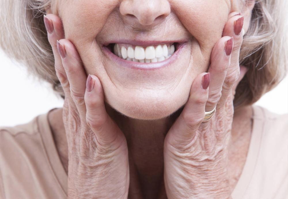 Close Up of older woman's smile | Dentures & Implants Gretna LA